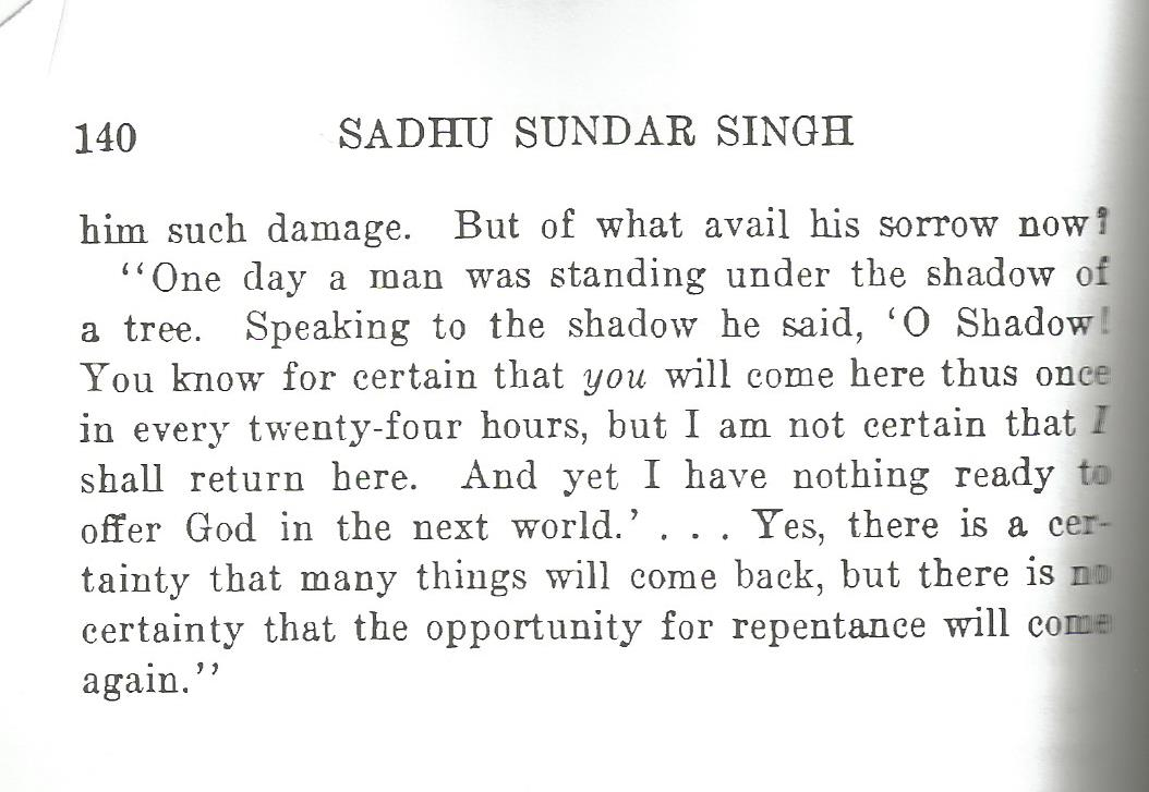 The quote by Sundar Singh found on page 140